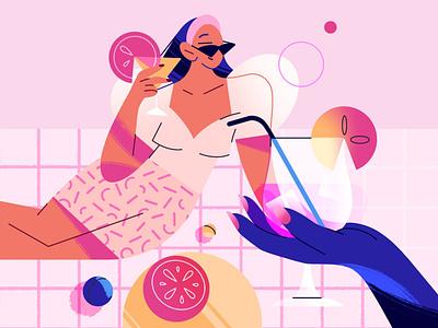 Picnic girls summer drink coctail park picnic femme girlpower woman girl procreate texture 2d characterdesign character vector app web illustration flat minimal