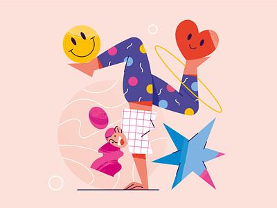 Funny guys funny star shape joke smile laughter man woman girl design poster characterdesign character web app vector illustrator illustration flat minimal