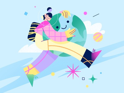 Happy Earth day! fly care earthday characterdesign star astronaut space earth love hug planet procreate girl vector app web character illustration flat minimal