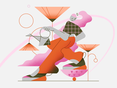 Spring girl summer characterdesign sneakers water texture shape geometry flower garden wonan procreate girl ui character vector web app illustration flat minimal