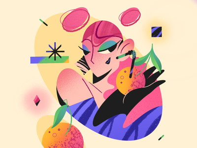 Girl with clementines summer chill relax portrait face fashion drink texture trendy orange shape geometry character design character vector web app flat minimal illustration