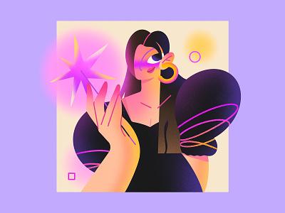 Birthday girl birthday pattern texture woman girl story star magic dream princess fairy design character vector purple pink color flat minimal illustration