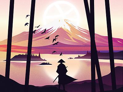 Hey, Dribbble! app vector design digital art illustrator minimal flat first shot japan samurai illustration debut hello