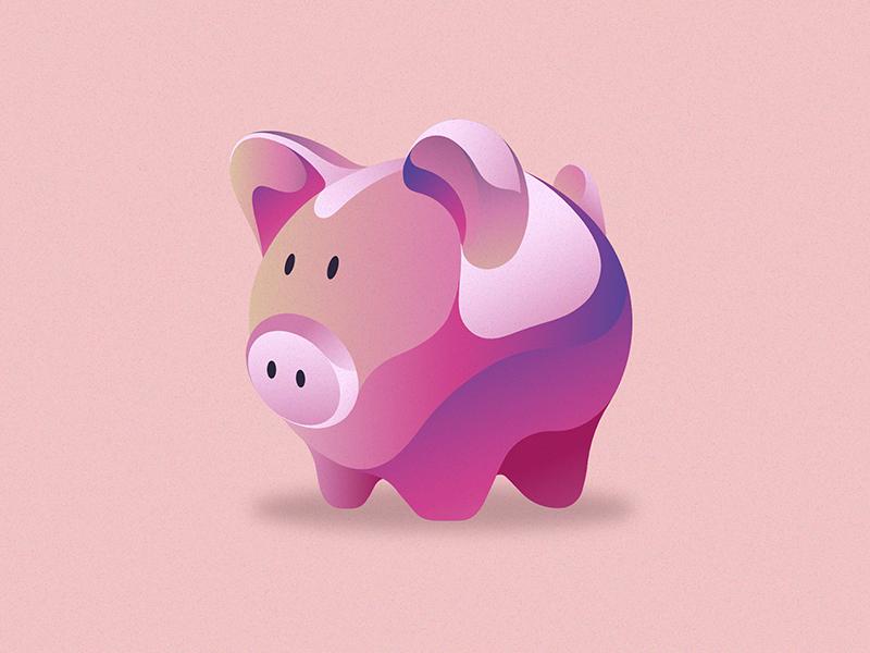 Pinky piggy money box digital art animal pink pig flat shot illustration