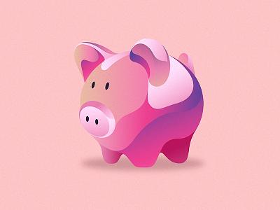 Pinky piggy app design vector minimal money box digital art animal pink pig flat shot illustration