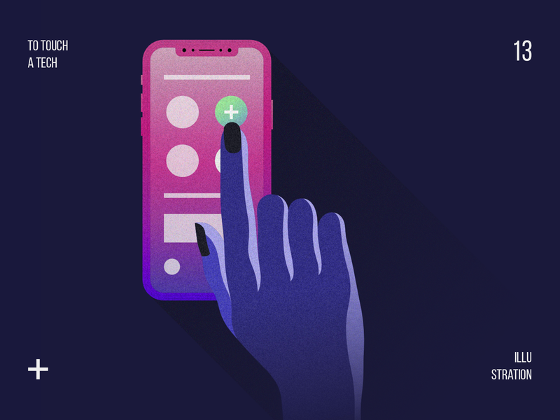 To touch a tech hand touch minimal website web ios vector ux iphonex app mobileapp ui design shot flat digital art illustration