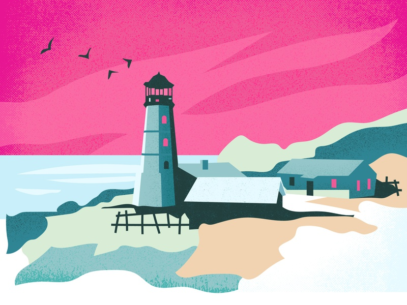 Serenity web blue pink texture app ui minimal flat illustration sunset village ocean sea lighthouse light