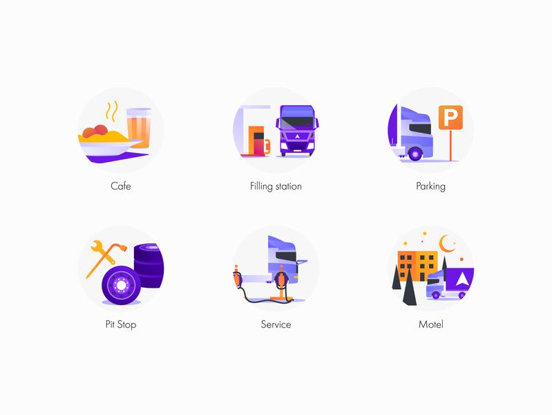 Icons set for app design commercial trip road transport trucker onboard purple icon vector minimal illustration flat web ux ui apple app aplication