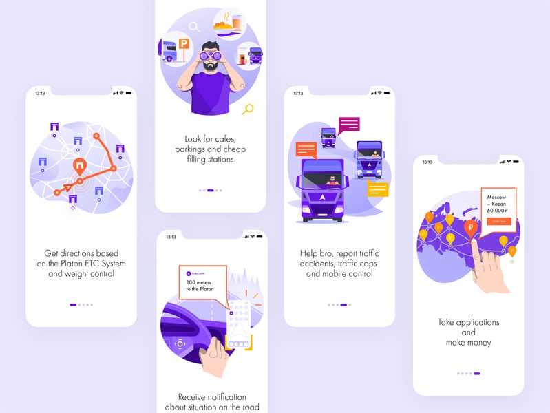 Onboarding for Fura.app map navigation application car transport road trip trucker screen onboarding onboard minimal commercial apple app illustration flat web ux ui