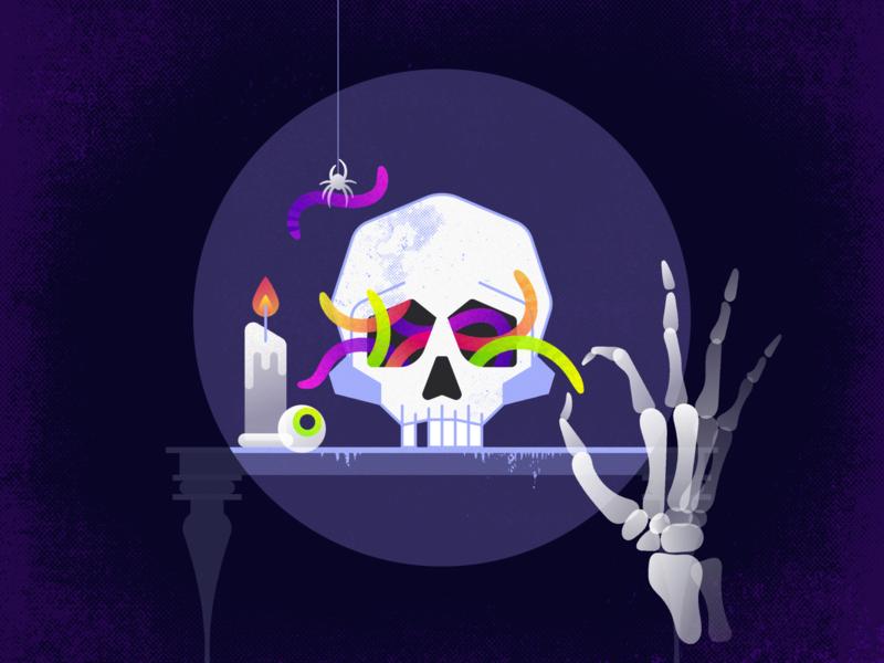 Happy Halloween! nightmare candle jelly sweet candy worm spider skull skeleton halloween digital art web ux ui aplication apple app minimal flat illustration