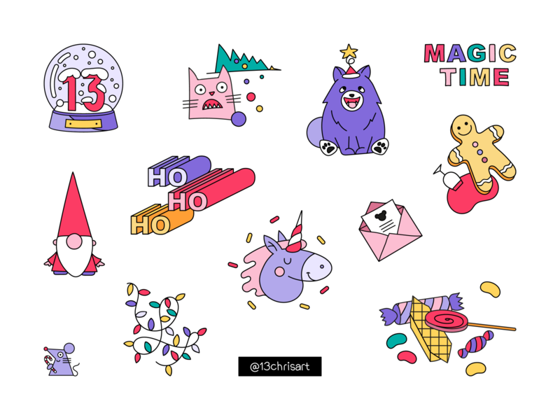 Happy New Year! candy christmas tree christmas dog cat santa unicorn magic celebration 2020 stickers sticker web app digital art ux ui minimal flat illustration