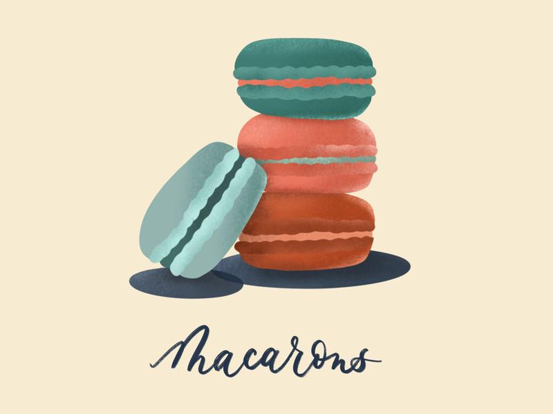 Macaron Monday illustration procreate macaroon yummy parisian paris red white and blue sweets dessert monday macaron