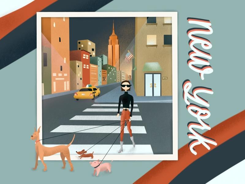 New York Animals procreate illustration america big city pets pig dogs dog animals new york
