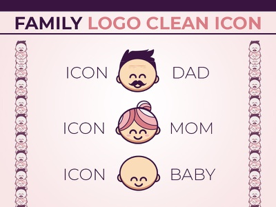Family Clean Icon web design dad mom mother father baby child family logo icon