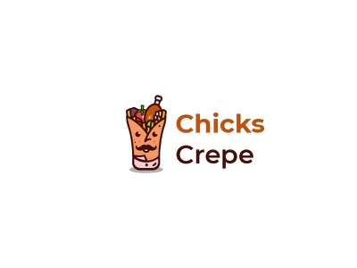 Chicks Crepe Logo Design - Creative & clean design quality beauty icon sandwich crepe chef chicken logos logo