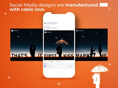 Social Media designs are manufactured with cable love first kiss love cable post design facebook post media post social media graphic branding design