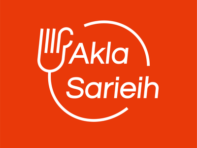 Logo Akla Sarieih - Food like no other fire hot circle creative design creative logo creative icon vector design fork orange branding like hand line speed food logo