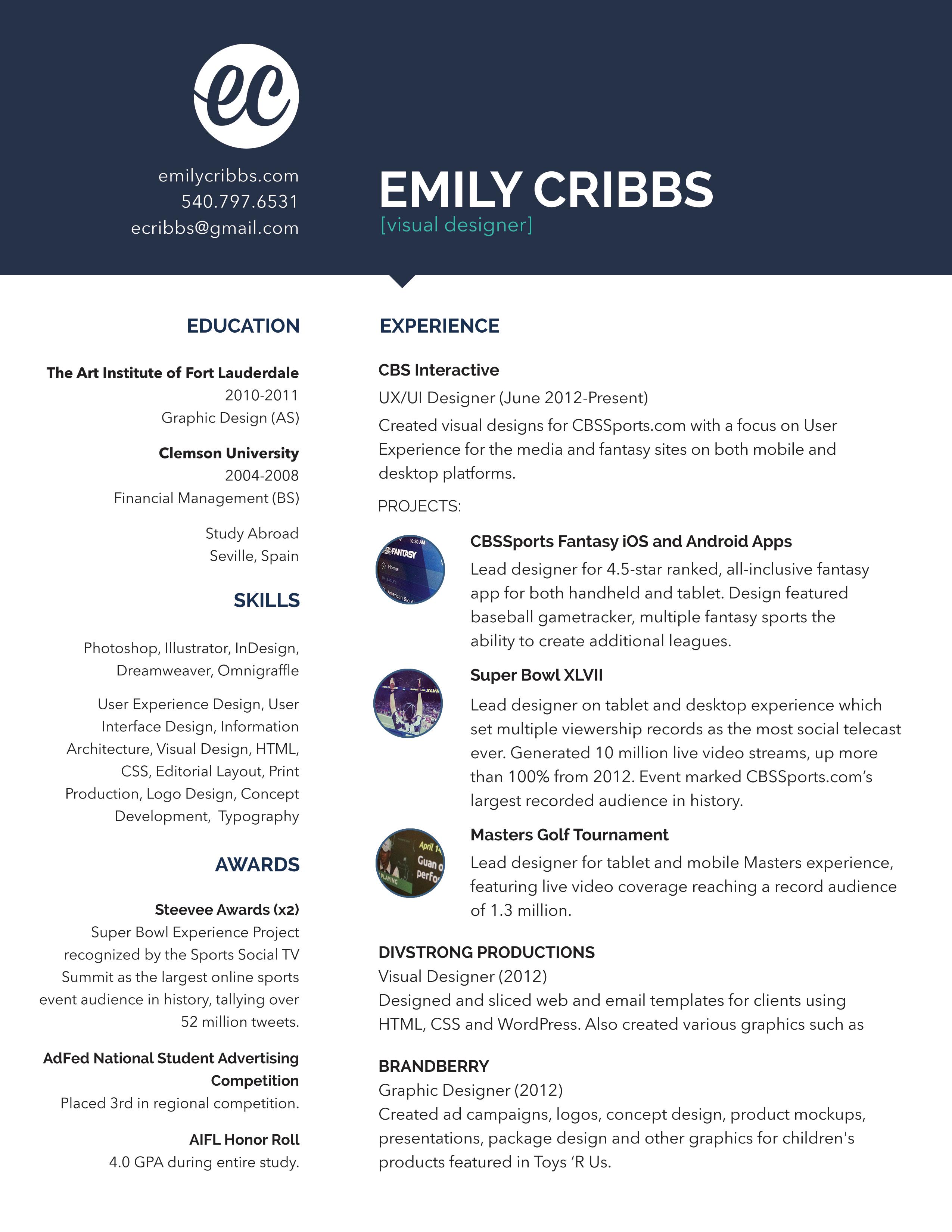 Dribbble - resume.jpg by Emily Cribbs