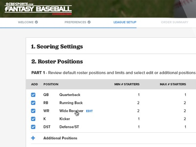 Fantasy League Set Up sports fantasy baseball setup ux