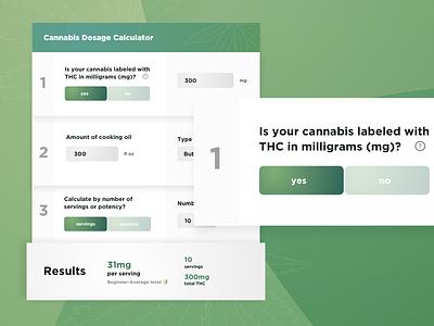 Daily UI 4 - Cannabis Dosage Calculator 420 stoner marijuana cannabis ui daily ui