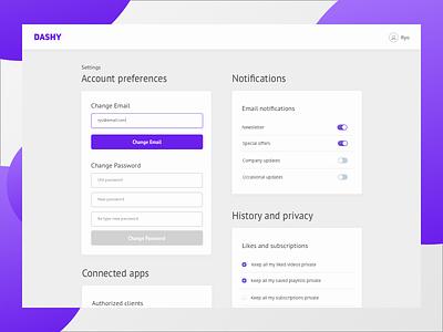 Daily UI - Settings purple dashboard user profile settings ui daily ui