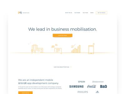 App Development Homepage ux ui minimal clean colour homepage home development application website web app