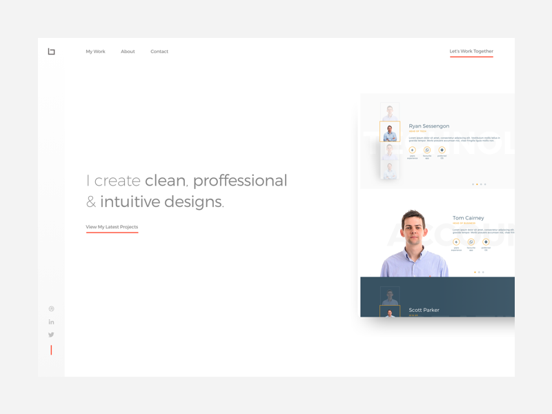Portfolio Landing Page Concept clean portfolio website homepage ux ui web