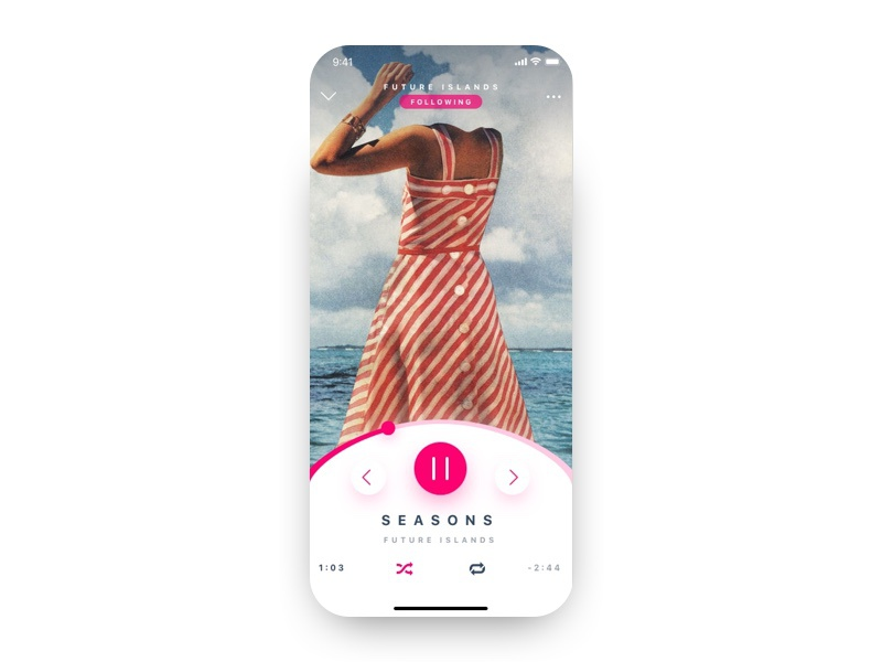 Music Player typography design web iphone app professional clean flat ux player ui music