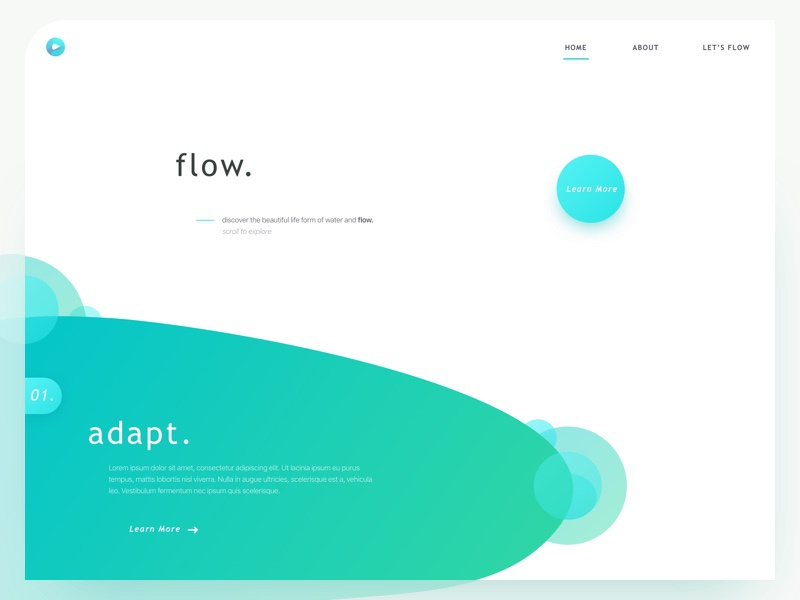 f l o w . web website ui ux fun app mobile colour fluid layout grid practice