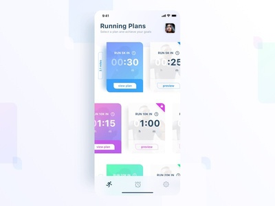 Run Training Plans white statistics minimal iphone ios interface colorful fitness mobile app ux ui