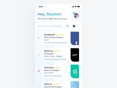 Job Role Concept download free sketch list grid layout white clean mobile app ux ui