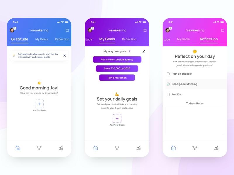 Gratitude & Goals App Concept ui ux app mobile color ios profile empty iphone x gradient typography animation