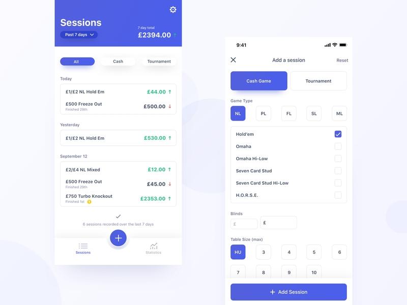 Live Poker Tracker finance money tracker poker flat colour ios design color typography mobile app clean ux ui