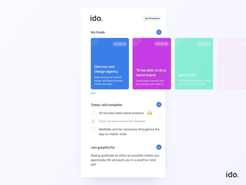 ido. the motivational app to help you achieve your goals cards tasks checklist layout logo android colour flat ios design color typography mobile app clean ux ui