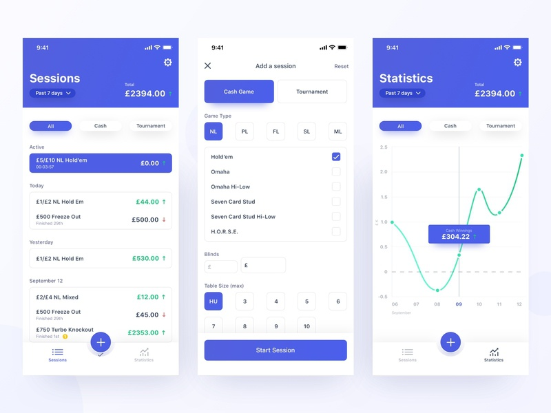 Poker Earning Tracker poker tracker progress graph layout colour ios flat design color typography mobile app clean ux ui