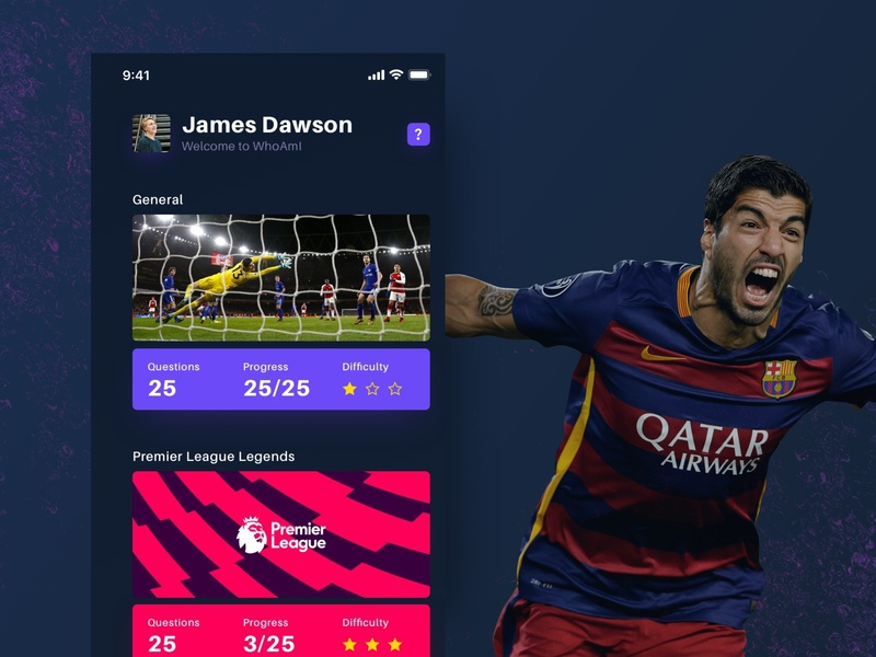 Football Quiz App flat colour design layout typography categories questions dark ui color android ios12 ios mobile app clean ux ui quiz football soccer