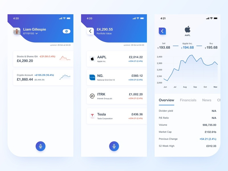 Investment App Concept tesla apple voice line chart chart money graph design ios mobile app ux ui wallet app shares stocks savings wallet crypto wallet crypto