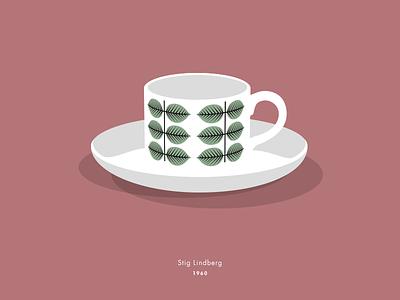 Berså design coffee cup porcelain leaves berså gustavsberg illustration vector
