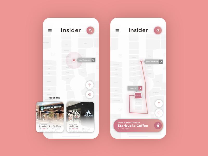 Insider - Location app app mobile shop shopping localization finder ux ui aplication responsive concept design