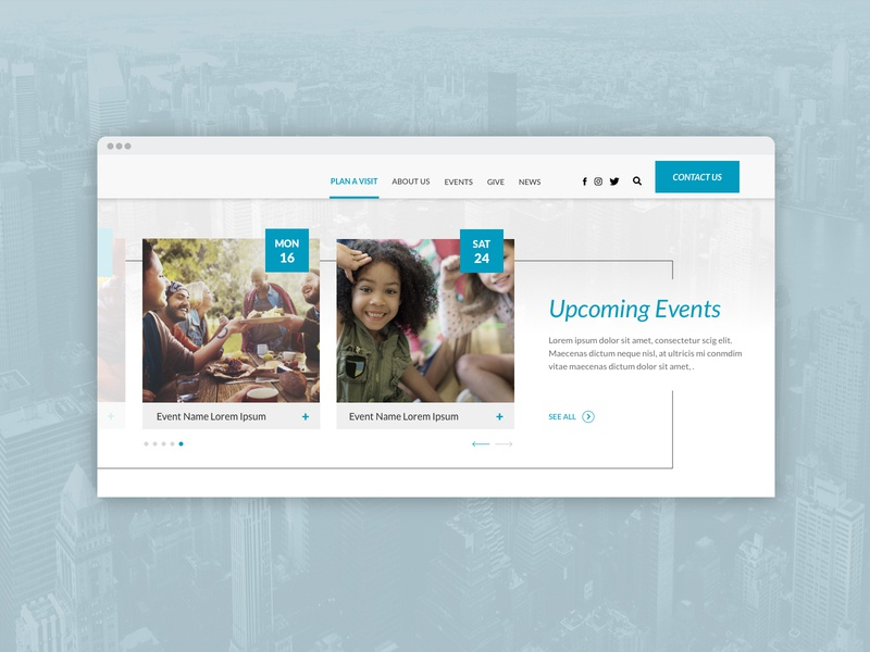 website Events Section Design calendar event vector module website corporate web ux ui concept design