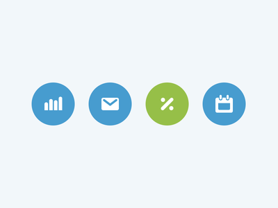 Newsletter Icons shopify web digital icon blue ecommerce reports email calendar discount green circle