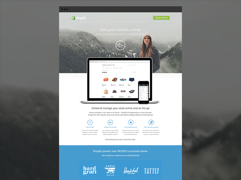Shopify sell page by Ally Lane for Shopify on Dribbble