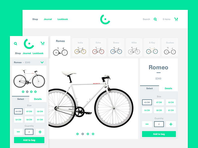 Cyclist theme template cart search select green slideshow bikes bike mobile web shopify theme