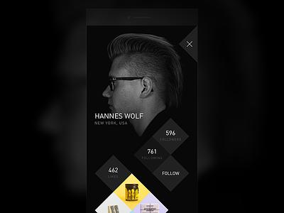 Profile followers likes ios mobile profile dark black din