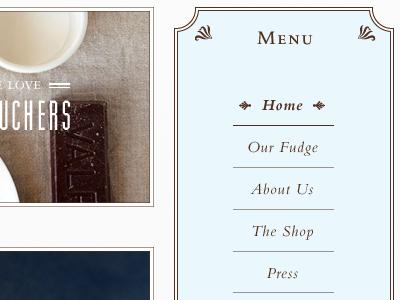 Menu for the Fudge House fudge bembo blue brown muncie menu flourish