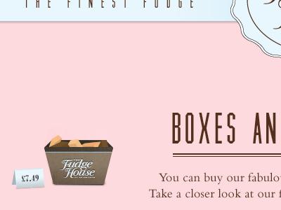 Our Fudge fudge bembo blue brown muncie packaging pink website header