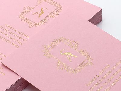 Wedding Invitation foil block print foil blocking foil stamp gold foil gold pink invitation wedding invitiation wedding