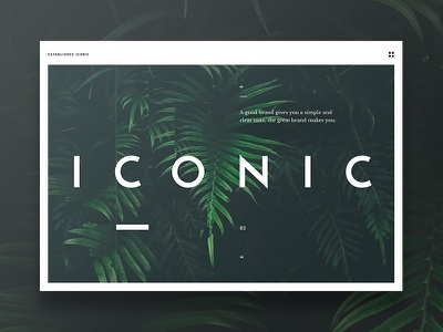 Iconic landing page large typography white green design landing page website interface ui