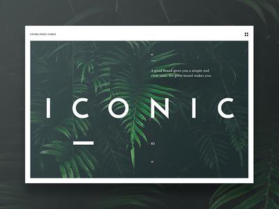 Iconic landing page large typography white green design landing page website interface ui