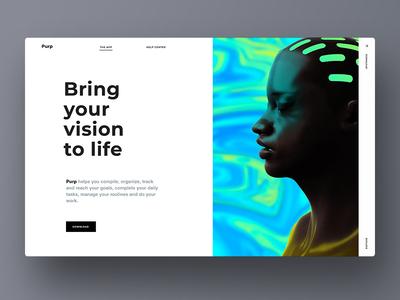 Sneak peak into the Purp new site web site webdesign typography minimal ios user interface app ux ui interface design